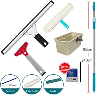 Household Window Wiper Scrubber with Super Wiper, 2.4 M Telescopic Rod, Water Heater, Marble Blade, Cleaning Bucket, Ideal for Living Room Bathroom Kitchen Glass Cleaner