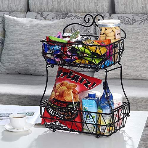 Upgraded Version - 2 Tier Fruit Bread Basket Display Stand - Screws Free Design