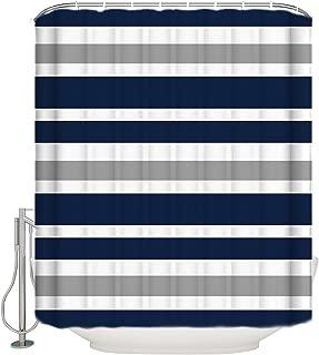 Cloud Dream Designs Navy Blue, Gray and White Kids Bathroom Fabric Bath Teen Stripe Shower Curtain-60 x72