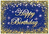 Funnytree 7x5ft Royal Blue and Gold Happy Birthday Party Backdrop 30th 40th 50th Milestone Photography Background Bday Event Decorations Cake Table Banner Men Women Photo Booth Supplies Props