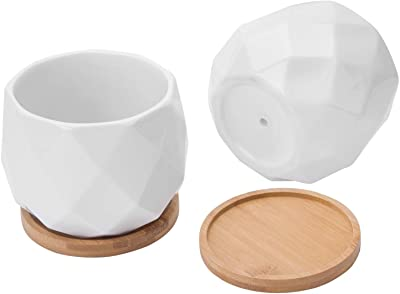 MyGift 4-Inch Small Geometric White Ceramic Plant Pots with Bamboo Tray, Set of 2