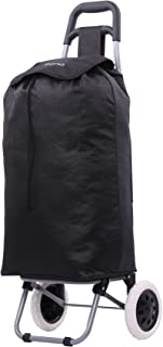 Amazon Brand: Eono Essentials 47L Foldaway Lightweight Shopping Trolley (Black) With 3-Year Guarantee