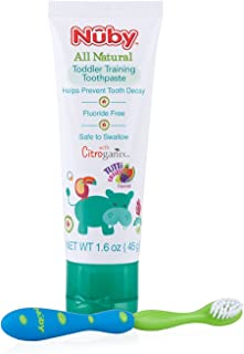 Nuby All Natural Toddler Toothpaste with Citroganix with Toothbrush, Blue/Green