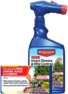 BioAdvanced 701287A Miticide Pesticide Fungicide 3-in-1 Insect, Disease and Mite Control, 32 oz