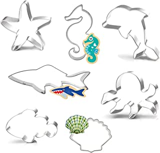 Seven Seas Ocean Cookie Cutters, Starfish, Clownfish, Octopus, Seashell, Seahorse, Dolphin, Shark, Creatures Cutter for Biscuit, Fondant, Fruit, Bread &Kids Easter Holiday Set, 7PCS