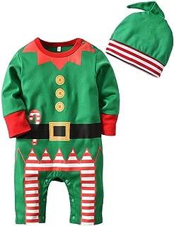 Baby Boys Girls Christmas Elf Photo Props Costume Romper Onesie Xmas Gift Jumpsuit Cap Set