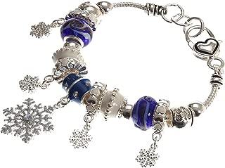 """Christmas Snowfall"" Murano Glass Beaded Charm Bracelet"