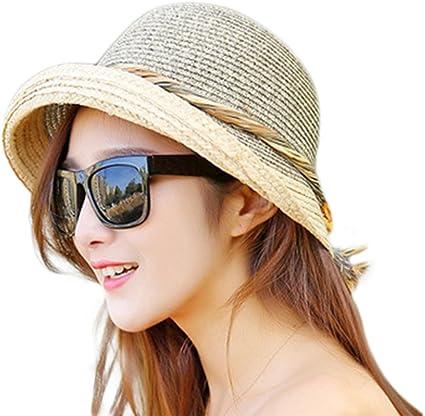 JUNGEN Las Mujeres Sun Paja Sombrero Plegable ala Ancha de Viaje de la Playa de Proa de la Cuerda del Cubo Visera Cap