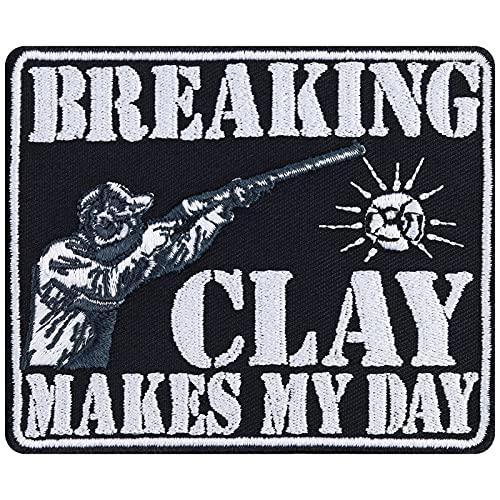 Parche de tiro de palomas, con diseño de «Breaking Clay Makes My Day», para protección deportiva, parche protector de plancha, adhesivo de águila, para chaqueta de piel, chaleco, sombrero, 90 x 75 mm
