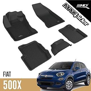 3D MAXpider - L1FA00501509 Complete Set Custom Fit All-Weather Floor Mat for Select Fiat 500X Models - Kagu Rubber (Black)