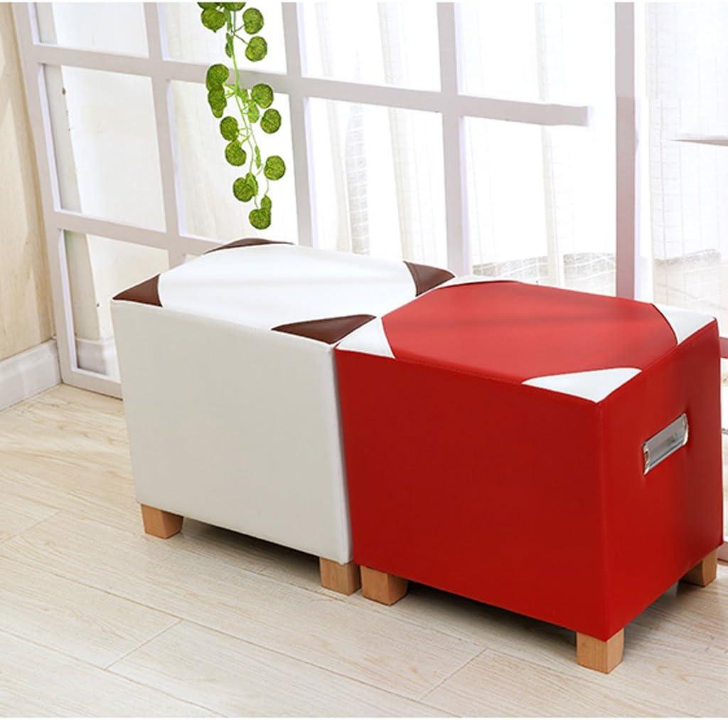SLL- Bas Tabouret Simple Moderne Changement Banc De Bain Mode Canapé Tabouret Tabouret Salon Table Basse Tabouret Tabouret Carré Petit Banc Fauteuils et Chaises (Color : Red) Red