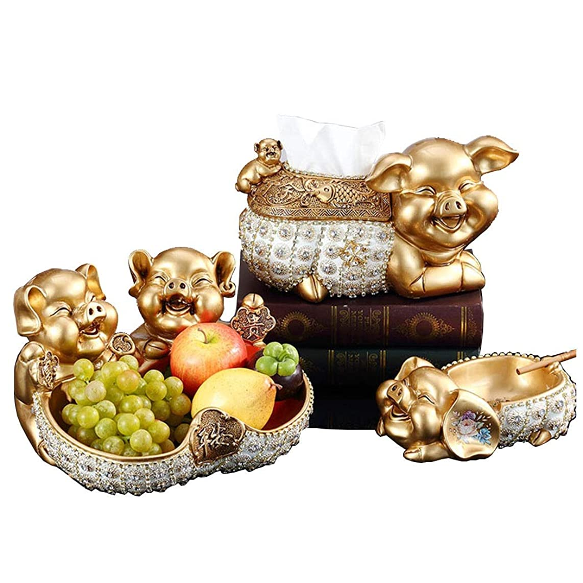 HONGNA Golden Pig Lucky Decoration Living Room Porch Fu Pig Creative Household Resin Multi-Purpose Tissue Box Housewarming Opening Gift (Towel Box Fruit Bowl Ashtray) (Color : Gold)