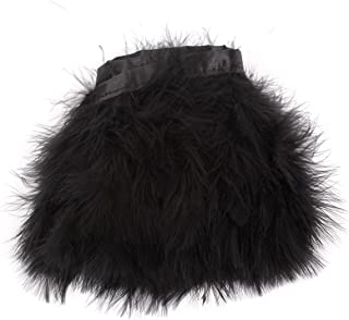 AWAYTR Turkey Marabou Hackle Fluffy Feather Fringe Trim Craft 6-8 inches Width Pack of 2 Yards (Black)