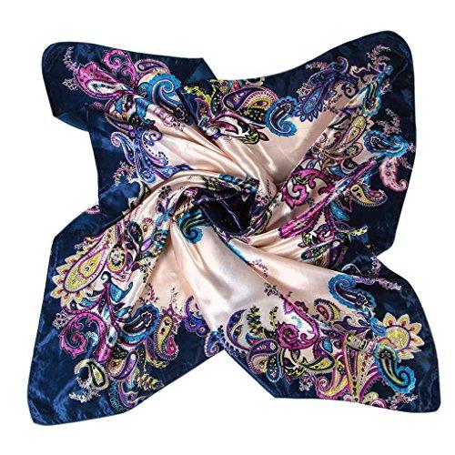 Lorjoy Nuevos Mujer Elegante Grande pañuelos de Seda Suave de la sensación de satén Plaza Bufanda