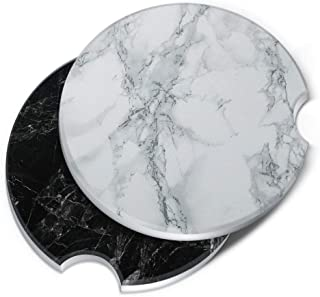 CARIBOU Coasters, Stone Marble + Cloudy Black Marble ROUND Ceramic Stone Car Coasters for Drinks, 2pcs Set