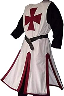 Mens Halloween Medieval Crusader Knights Templar Renaissance Costumes Tunic Surcoat Warrior Cloak Cosplay Top