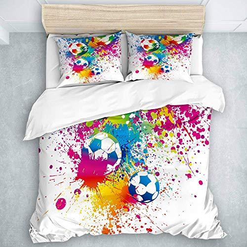 Bettbezug-Set, farbige Spritzer auf Allen Fu?b?llen Ergebnis Weltmeisterschaft Weltmeisterschaft Athletic Artful, für Erwachsene / Kinder 3 Stück