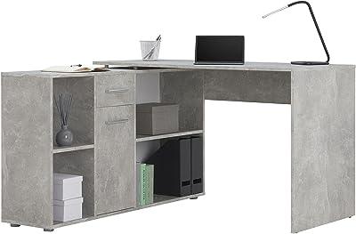 IDIMEX Bureau d'angle Carmen Table avec Meuble de Rangement intégré et modulable avec 4 étagères 1 Porte et 1 tiroir, décor béton