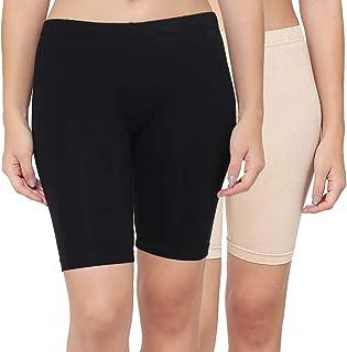 PLUMBURY® Women's/Girl's Cotton Lycra Cycling Shorts/Yoga Shorts/Night Shorts/Under Skirt Safety Shorts(Pack of 2)
