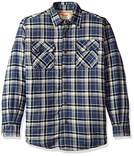 Wrangler mens Long Sleeve Sherpa Lined Jacket Button Down Shirt, Mood Indigo, X-Large US