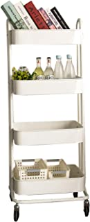 walsport 4-Tier Rolling Cart Metal Storage Organizer Utility Cart with Wheels for Kitchen Bathroom Bedroom, White