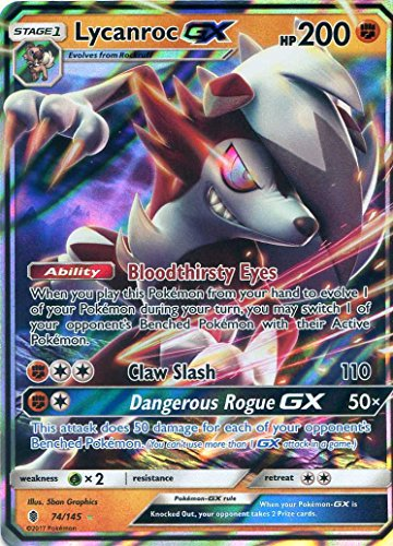 Pokemon Sun & Moon Guardians Rising Lycanroc GX 74/145 Holo card