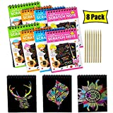 8 Packs Rainbow Scratch Paper, Magic Scratch Art Painting Scratch & Sketch Art Note Pads with Wooden Stylus for Kids Have Fun and Creativity (14cm×10cm/5.5'×3.9', 4 Colors)