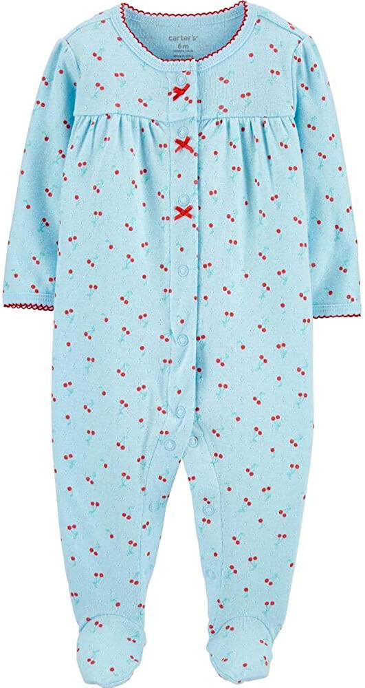 Carter's Baby Girls' Snap Up Cotton Sleep & Play, Blue Cherry, Newborn
