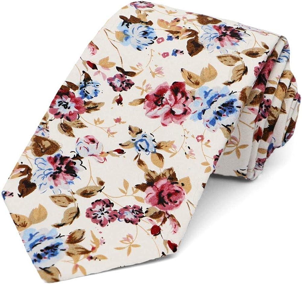 TieMart Floral Cotton Narrow Necktie
