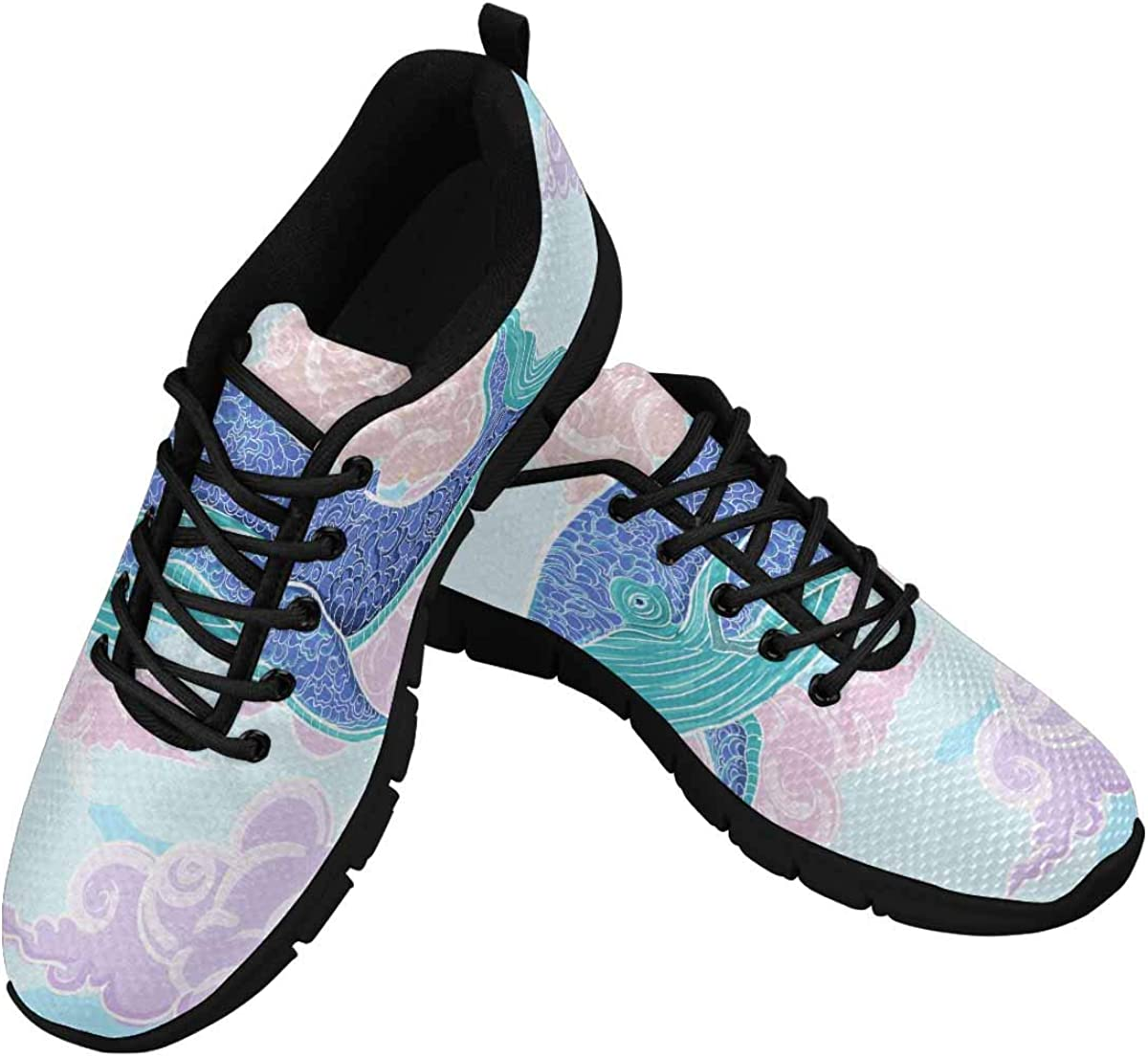 INTERESTPRINT Ocean Whale Women's Walking Shoes Lightweight Casual Running Sneakers