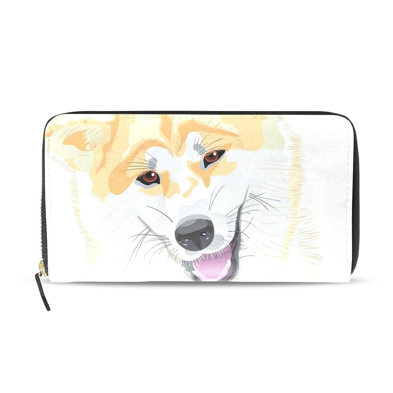 軍団カートンのれんAOMOKI 長財布 財布 レディース 大容量 PUレザー 幅20*丈11cm あきたいぬ 犬柄 可愛い