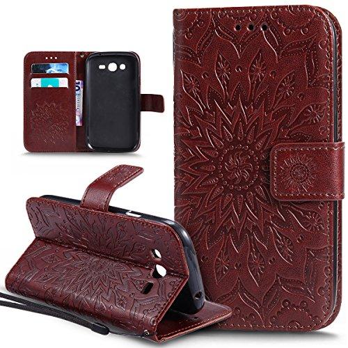 Ikasus® - Carcasa de piel sintética, con tapa, tarjetero, cierre magnético, compartimento y función atril para Samsung Galaxy Grand Plus, Grand Neo, Grand Lite, GT-I9060I i9060 i9062 i9082, con diseño