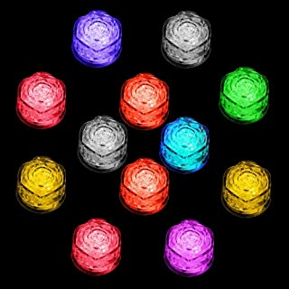 Simulation Ice Cube - 12pcs Plastic Multi-Color Luminous Ice Cube with Colorful Light for Halloween Party Wedding Club Bar Champagne Tower Decoration (12PCS)