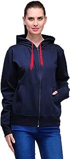 Scott International Women's Premium Cotton Pullover Hoodie Sweatshirt with Zip - Navy Blue