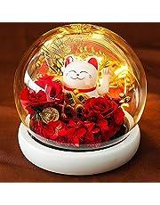 Cats Doll Auto Light Up Ornament, Roses Eternal Flowers Glass Cover Gift Box Nachtlampje voor vriendin Verjaardagscadeau Valentijnsdag, DIY Kerstmis,A
