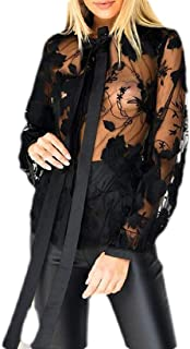 Women Sexy See Through Blouse Long Sleeve Button Down Shirt T-Shirt