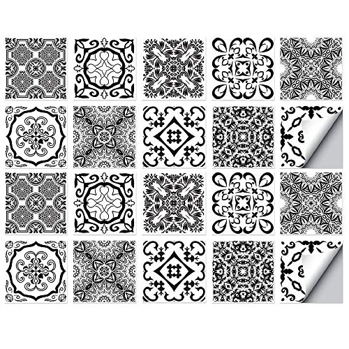QAZN 20 Stück Fliesen Renovierungsaufkleber für Schrank TV Hintergrund Wandboden Wanddekoration wasserdicht Selbstklebende Tapete Peel and Stick Decals-Schwarz weiß 2_15 x 15 cm