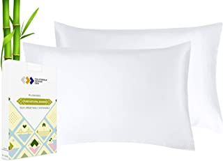 Vegan Silk Cooling Pillow Cases - Set of 2, Plant Based Bamboo Fabric, Soft & Silky, Breathable & Hypoallergenic, Luxury P...