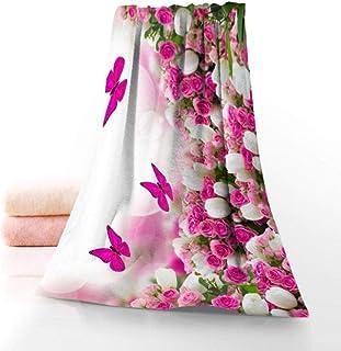 TIGERROSA Toallas Toallas De Mano Primavera Mariposa Flor Toalla Impresa Algodón Cara/Baño Toallas Tela De Microfibra para...