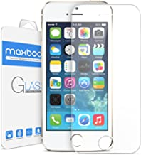 Maxboost Tempered Glass Screen Protector for iPhone 5s 5 5c, Pack of 3-0.2mm Ballistic Glass, 99% Touch-Screen Accurate