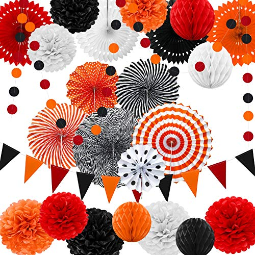 25 Pieces Halloween Party Decorations, Halloween Hanging Paper Fans Pom Poms Flowers Garlands with Honeycomb Ball and Circle Dot for Halloween Christmas Birthday Wedding Baby Shower Party Supplies