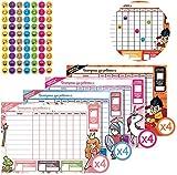 TABLAS DE RECOMPENSAS PARA NIÑOS STARPLAST - Incluye 16 láminas de pegatinas, 4 diseños diferentes de tabla recompensa y 16 hojas de tablas recompensa para usar con niños.