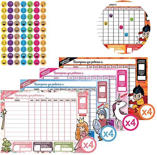Starplast MS7812 - Tabla de recompensas, 16 Láminas de Pegatinas, 4 diseños Diferentes de Tabla Recompensa, 16 Hojas de Tablas Recompensa para uso con niños, incentivar, motivar, etc