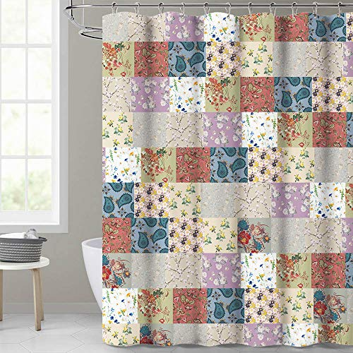 KGORGE Colorful Shower Curtain Patchwork Design Various Flowers Print Paisley Pattern Bathroom Curtains for Farmhouse Cottage Vintage Style Curtain Liners,72 inches by 72 inches, Rings Included