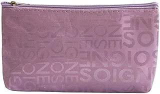 Travel Beautician Cosmetic Bag Satin Waterproof Makeup bag Zipper Travel Cosmetic Letter Makeup Bags Pouch Toiletry Organizer,Light Purple