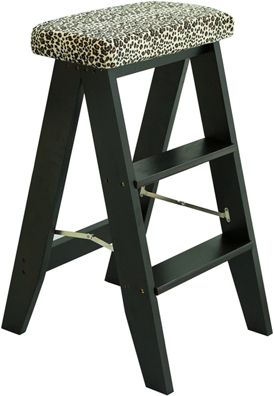 Step Ladder LQQGXL Two-Story Stair stools, Home Wood Anti-Slip Folding Ladder, Multi-Functional Combination, Creative Kitchen Step Stool, (color   Black)