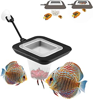 FLOURITHING 2 Pcs Fish Feeding Ring, Fish Safe Floating Food Feeder Circle Blue, with Suction Cup Easy to Install Aquarium, Square and Round Shape, for Guppy, Betta, Goldfish, Etc.