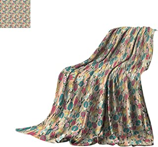Luckyee Lightweight Blanket Floral,Colorful Pattern with Trippy Designed Roses Tulips Botany Childish Print,Peach Hunter Green Oversized Travel Throw Cover Blanket Bed or Couch 80