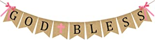 God Bless Baptism Banner Burlap - First Communion Party Banner - Vintage Bunting Garland Christening Decoration Supplies for Wedding, Baby Shower Party - Pink