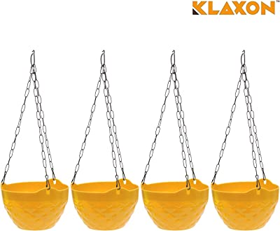 Klaxon Plastic Hanging Diamond Pot with Chain in Yellow Color 4PCs